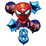 BAYUE Globos 6 Unids / Set 32 Pulgadas Número 1-9 años Spider-Man Helium Balloon Spiderman Superhero Avengers Fiesta de cumpleaños Globos Decoraciones ( Color : Violet )