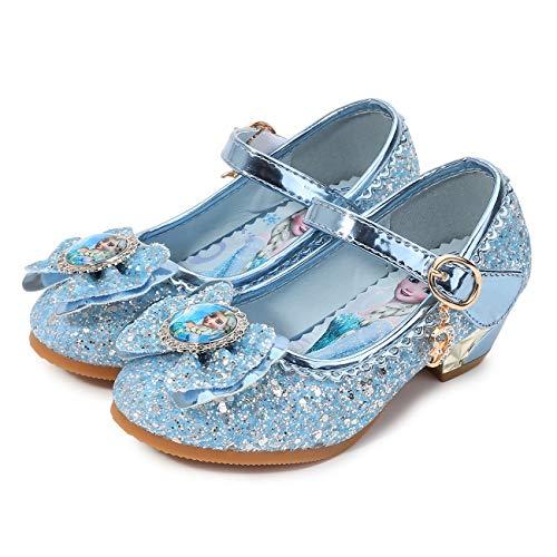 FStory&Winyee Mädchen Prinzessin Sandalen mit Absatz Kinder ELSA Schuhe Partei Glitzer Kristall Mädchen Kostüm Zubehör Karneval Verkleidung Party Aufführung Fasching Tanzball, Blau, 30 EU