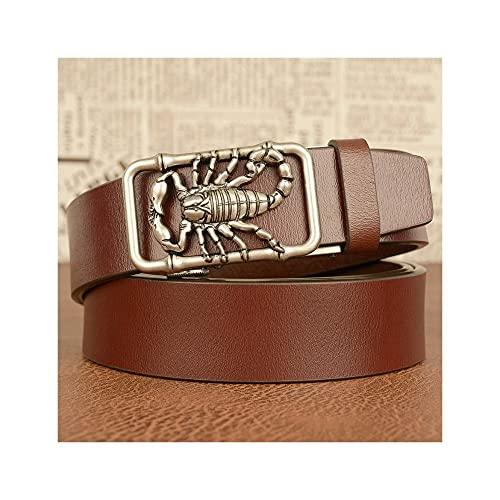 GHRFZC Los Hombres De La Moda Cinturón Animal Scorpion Retro Reloj Automático Personalidad De Cinturón Casual Lisa Tejer Casual Cinturón Jeans Cintura, Cinturón Marrón Hebilla Plateada,110Cm