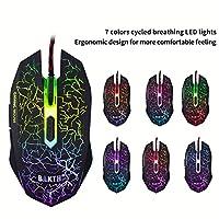BAKTH Tastiera e Mouse da Gioco, Colore da Arcobaleno LED Retroilluminato USB Gaming Tastiera e Mouse per Videogiochi o Lavoro, Paragonabile a Una Tastiera Meccanica #6