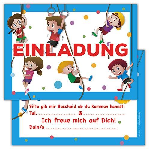 Einladungskarten für Kindergeburtstage für Jungen oder Mädchen (Sport, 12 Stück im Kartenset)