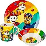 alles-meine.de GmbH 3 TLG. Kindergeschirr - Porzellan / Keramik - Paw Patrol - Hunde - Trinktasse + Teller + Müslischale - Geschirrset - Frühstücksset für Kinder - Jungen Mädchen..
