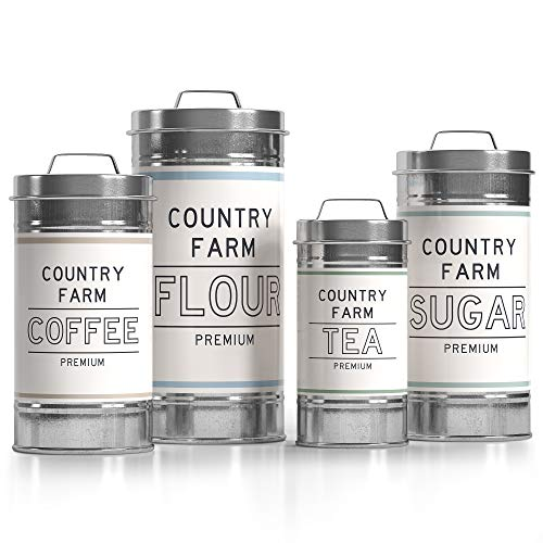 Barnyard Designs Decorative Nesting Kitchen Canister Jars with Lids, Galvanized Metal Rustic Vintage Farmhouse Container Decor for Flour Sugar Coffee Tea Storage, Set of 4, Largest is 14cm x 28.5cm