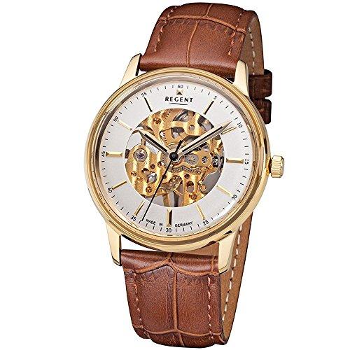 Regent Herren-Uhren Analog Handaufzug One Size Braun Leder 32002036