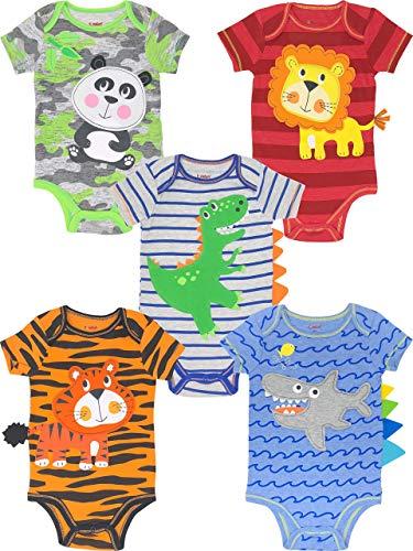 Funstuff Baby Boy Girl 5 Pack Animal Bodysuits Lion Panda Dinosaur Tiger Shark (3-6 Months)