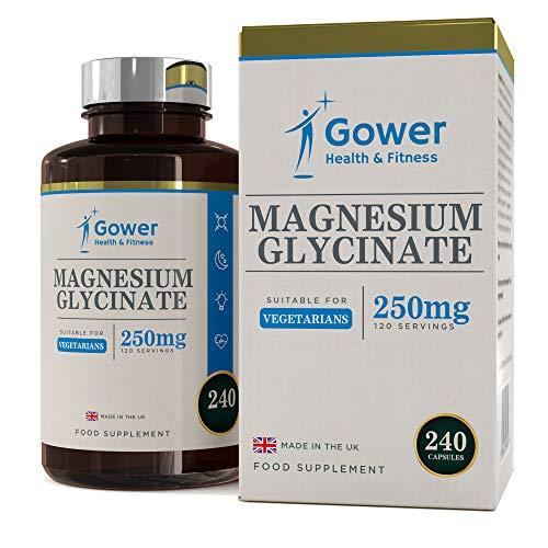 Glicinato de Magnesio 250mg - 240 Capsulas Vegetarianas (2 MESES DE SUMINISTRO) - Suplementos Magnesio de Alta Biodisponibilidad - Fabricado en UK en instalaciones con licencia ISO