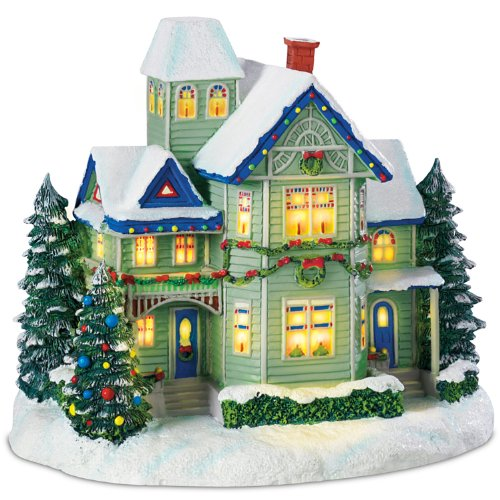 Hawthorne Village Thomas Kinkade Candle Glow House Sculpture Brings The Village Christmas Spirit to Your Home Decor and Holidays