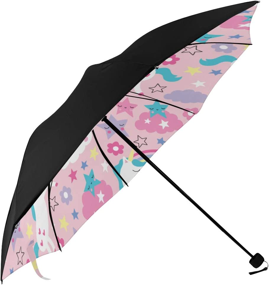 Umbrella Golf 70% OFF Outlet Compact Rainbow Colorful Max 48% OFF Printin Underside Unicorn