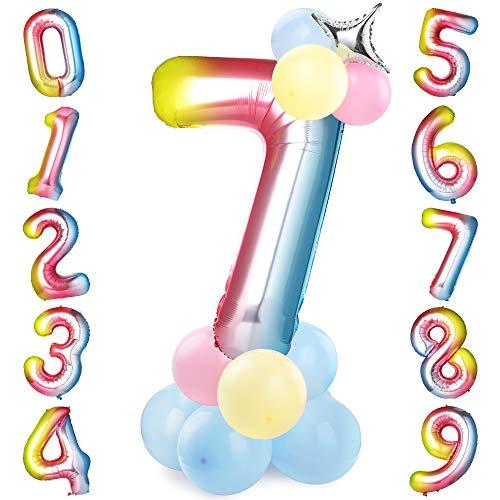 GeeRic Folienballon im Zahlen-Design Mit 16 Luftballons + 1 Star für Geburtstag, Kindergeburtstag Mädchen, Motto-Party, Dekoration, Folien-Luftballons, Zahlenluftballon