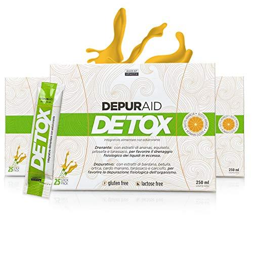 Depuraid Detox, Drenante Forte Dimagrante, Depurativo Antiossidante | 25 Stick Pack Monodose, Gusto Arancia | Elimina le Tossine del Fegato | Riduce ritenzione idrica e inestetismi della cellulite