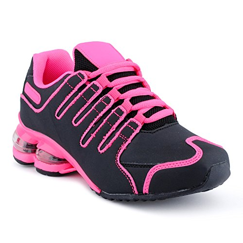 Fusskleidung Herren Damen Sportschuhe Dämpfung Neon Laufschuhe Gym Sneaker Unisex Schwarz Fuchsia Pink EU 36
