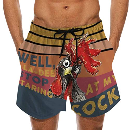Why Should You Buy FD Izmn Men Funny Satirical Chicken Cock Beach Shorts - Stop Staring at My Cock -...
