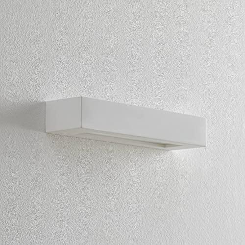 Lindby Gips Wandlampe weiß, bemalbar  indirektes Licht Uplight & Downlight   Wandleuchte Gips 2 flammig für Wohnzimmer, Esszimmer, Küche, Flur   Gipsleuchte Wand innen   IP20