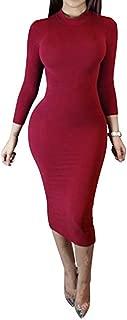 Women's Turtleneck Bodycon Midi Dress-Long Sleeve Sexy Wrap Slim Elasticity Club Dress