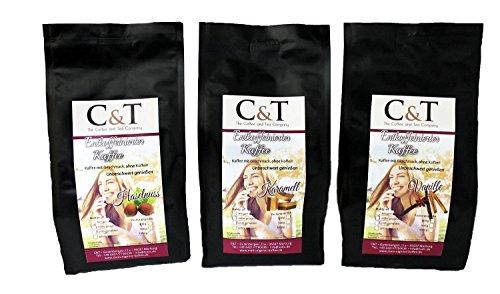 Kaffee mit Geschmack, ohne Koffein! Entkoffeiniert Kaffee mit natürlichen Aromen: Haselnuss, Karamell, Vanille (3 Sorten) (200 g) GANZE BOHNE