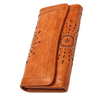 OB OURBAG Women Leather Wallet Clutch Purse Card Holder Ladies Hollow Out Long Wallet Brown