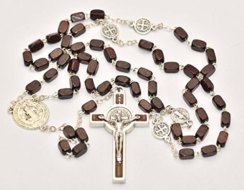 Rosario de madera de San Benedicto con medalla de crucifijo de San Benito y medallas de San Benito de plata, rosarios católicos para hombre y tarjeta de oración de Lourdes