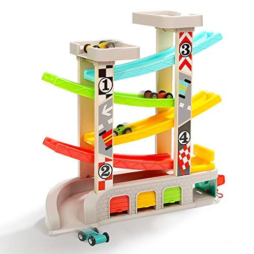 TOP BRIGHT Car Ramp Toy for 1 2 Year Old Boy Birthday Presents, Toddler Race Track Playset, Car Racer Track Toy with 4 Wooden Cars and 3 Car Garage