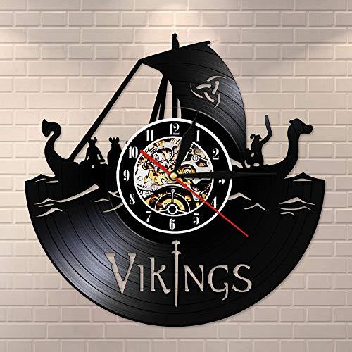 wtnhz LED-Reloj de Pared con Disco de Vinilo Vikingo, decoración de habitación vikinga, Reloj de Pared, Reloj de Pared Moderno Vikingo en Serie, Reloj de Pared artístico, Regalo de cumpleaños