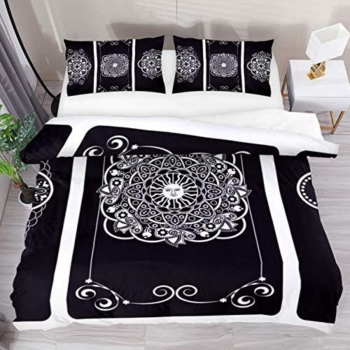 Juego de cama de 3 piezas de microfibra lavada, flores blancas negras indias tradicionales, parte posterior de las cartas del tarot, funda nórdica suave y transpirable con cierre de cremallera
