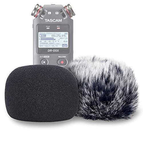 DR05 Microfono Parabrezza e Schiuma Copertura Antivento per Registratore Vocale Digitale Tascam DR-05 DR-05X, Pelliccia Sintetica per Interni DR05X di YOUSHARES (PACCHETTO 2)