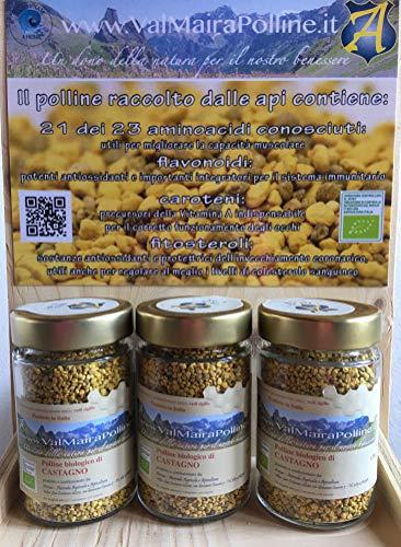 3 vasetti Polline Biologico di Castagno deumidificato a freddo 100% italiano