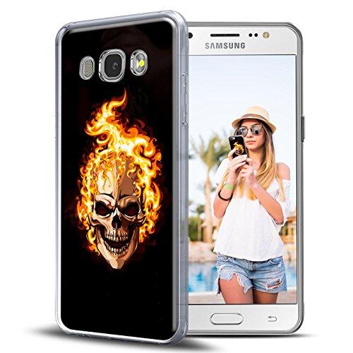 Preisvergleich Produktbild Conie PC30442 Picture Case Kompatibel mit Samsung Galaxy J1 2016,  Rückschale mit Motiven Silikon TPU Backcover für Galaxy J1 2016 Bumper Motiv Totenkopf