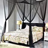 HOBFUUK Moskitonetz, 4 Ecken, quadratisch, Betthimmelset, Schlafzimmer-Dekoration, Schwarz