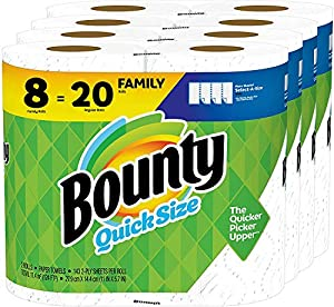 Pack contains 8 Family Rolls of Bounty Quick Size paper towels, equal to 20 Regular Rolls This pack contains 40 more sheets per pack which means 5 extra days' worth of paper vs. Bounty Select-A-Size 8 Huge Roll Estimated based on manufacturer data. A...