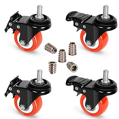 """Stem Casters with Brake,Heavy Duty Swivel Threaded Stem Casters,3/8""""-16x1""""(NOT Metric M10) Stem Casters with Brake for Carts,Dual Lock Stem Casters Loading 300Lbs,NO Noise,Multi Nuts Choice"""