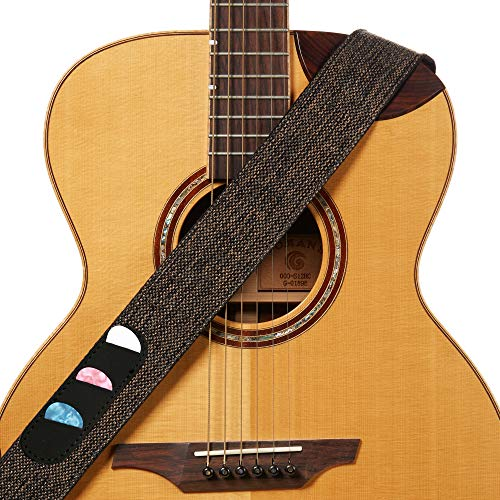 Amumu Guitar Strap Woven Brown for Acoustic, Electric and Bass Guitars with Pick Holder & Strap Blocks & Headstock Strap Tie - 2' Wide