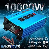 6000W 10000Watt 4USB DC 12V to AC 220V Portable Car Power Inverter Charger