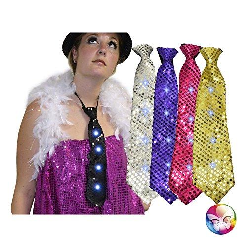 Unbekannt Aptafêtes–ac1278–Krawatte Pailletten Lichterkette mit 4LEDs 3LR4Batterien–34cm