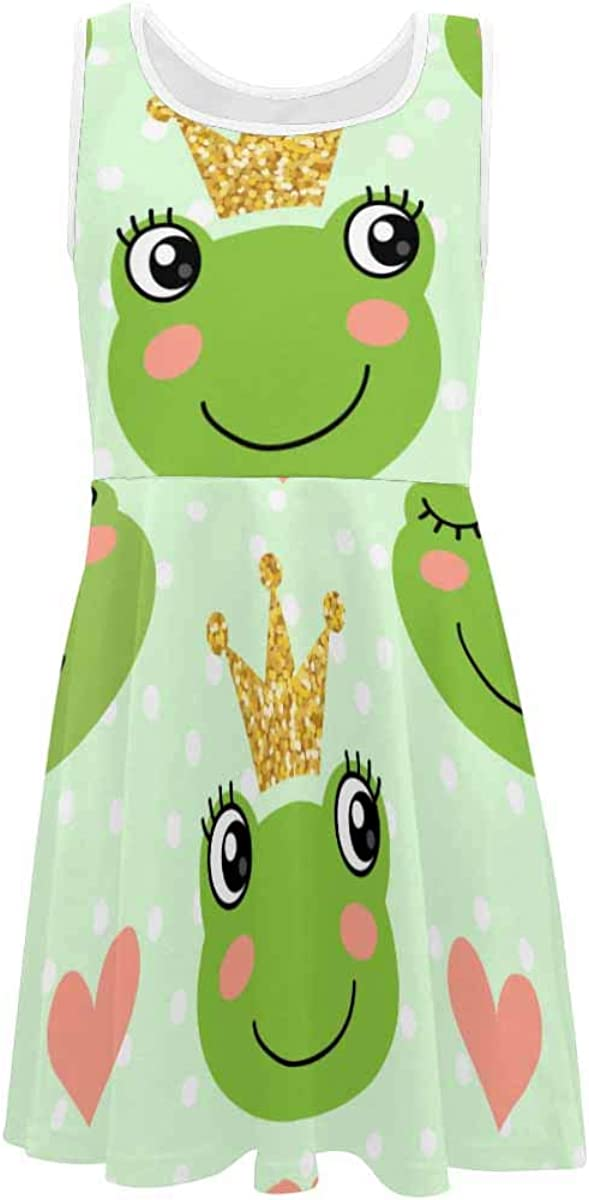 INTERESTPRINT Girls Summer Dress Sleeveless Crew Neck Casual Dress for 4-13 Years Cute Frogs and Crowns 4T