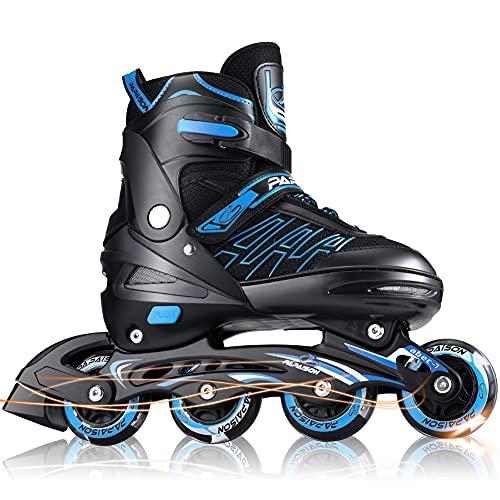 Patines en Linea Ajustables con Ruedas Luminosas Inline Skates Rollerblade, Profesionales para Adultos y Niñas y Niños, Rollers, 4 Ruedas (M, Azul)