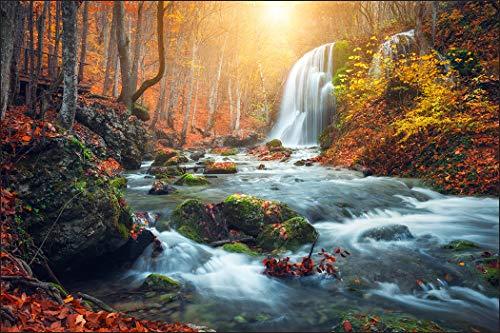 Muralo Fototapete Natur 180 x 270 cm Vlies Tapete Wandtapeten Wasserfall Felsen Bäume Herbst Wohnzimmer Schlafzimmer Moderne Wandbilder XXL Landschaft Panorama Wand Dekoration