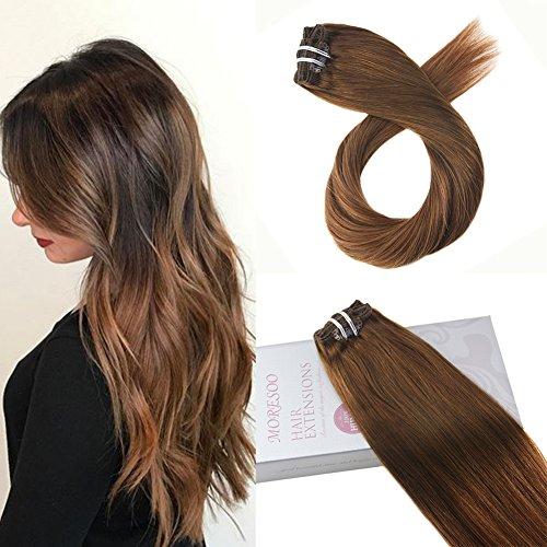 Moresoo 20 pulgadas Hair Extensions Clip #4 Marrón Oscuro a #30 Castaño Rojizo Extension Clip Pelo Natural Clip in Human Hair Extensions 7pcs 100G Full Head