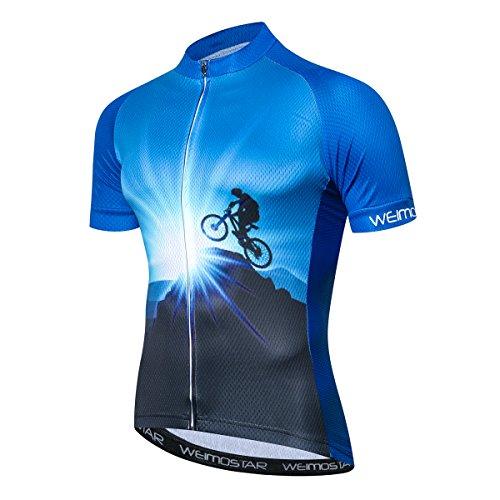 JPOJPO - Maglietta da ciclismo da uomo, con teschio, ideale per la squadra di ciclismo, a maniche corte