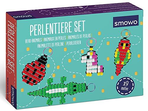 Smowo® Perlentiere Bastelset mit Perlen für 9 Schlüsselanhänger Tiere – Bastelbox für Kinder zum Fädeln und Basteln