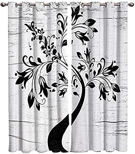 LUOWAN Cortina Opaca En Cocina El Salon Dormitorios Habitación Infantil 3D Impresión Digital Ojales Cortinas Termica - 234x138 cm - Negro Abstracto Arte árbol - Aislamiento Térmico Cortinas Sala