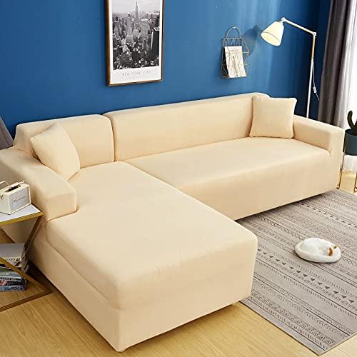 WXQY Funda de sofá de Color sólido de Alta Elasticidad sofá Moderno Chaise Longue Esquina en Forma de L Funda de sofá elástica Funda de sofá A5 2 plazas