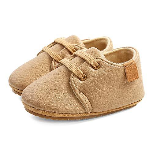 LACOFIA Sneakers per Neonato Scarpine Oxford Scarpe Primi Passi Antiscivolo per Bambino Cachi 6-12 Mesi