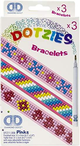 Pracht Creatives Hobby DTZ11-008 Diamond Dotzies Set pink, 3 glitzernde Armbänder zum Selbstgestalten, längenverstellbar, ideal für Kinder