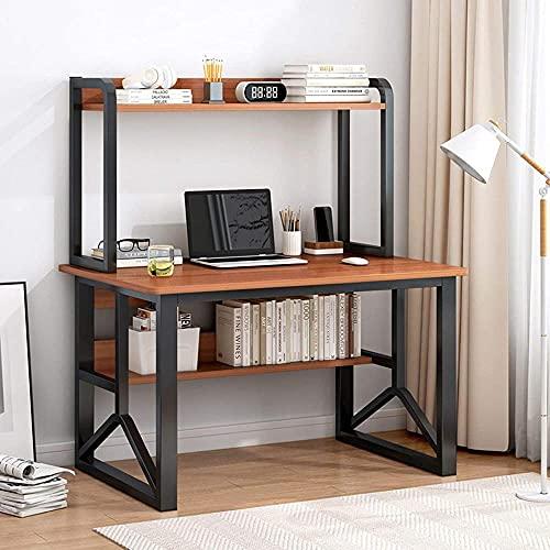 Escritorio de madera para estudio con estantes de almacenamiento, estilo vintage, industrial, para el hogar, oficina, oficina o casa, espacios pequeños D 120 cm - 100 cm