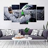 VKEXVDR 5 Paneles Pintura de la Lona Mural Astronauta Bebiendo Cerveza Luna Espacio Arte Fotos Paisaje Imprimir Decoración Moderna del Ministerio del Interior Sin Marco 200 * 100cm