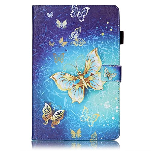 DETUOSI Protector Galaxy Tab E 9.6in Cover,Galaxy 9.6 Tablet Case,Tab E Cases,Flip Cover Folding Case Cover for 9.6inch Samsung Galaxy Tab E T560 Case(Not Tab E Nook) Gold Butterfly