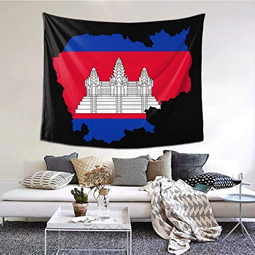 YLQ Cambodian Buddha Flag Decorative Wall Blanket Tapestries for Bedroom Living Room Dorm Decor 60' X 51'Inches Indoor Tapestries Vertical Version