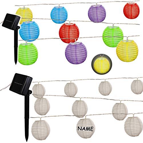 alles-meine.de GmbH SOLAR Licht - LED - Lichterkette / Lampionkette - 4,70 Meter - wetterfest - AUßEN & INNEN - inkl. Name - 10 Bunte oder weiße Stoff - Kugeln / Lampions - 8 cm ..