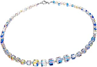 ULTNICE Women Crystal Necklace Colorful Bead Strand Necklace Decorative Clavicle Necklace Party Birthday Collarbone Neck C...