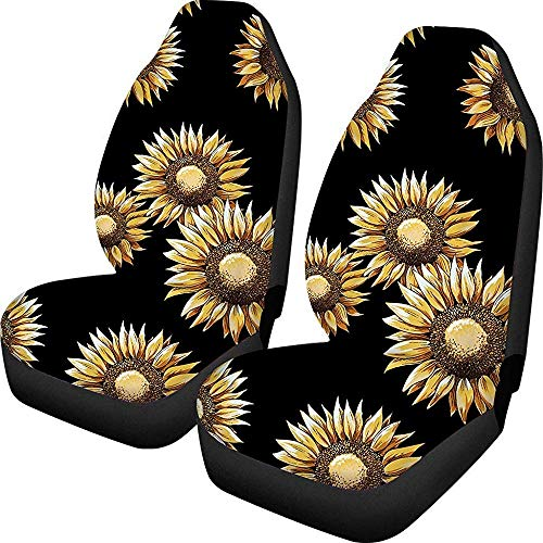 Polyester comfort autostoelen kussen zonnebloemen bloemenprint mode autostoelhoezen (zwart)